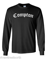 COMPTON - BLACK LONG SLEEVE T-SHIRT-NEW-ALL SIZES AVAILABLE