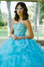 Luxury Excellent Blue Beading Ball Gown Organza Quinceanera Dresses Custom Made