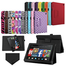 """For 2014 Amazon Kindle Fire HD 7"""" 7inch Tablet Folio PU Leather Case Cover Stand"""