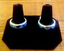 Sterling Silver Turquoise and Lapis Wedding Band Ring
