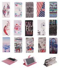 Hybrid Patterned Folio Wallet Leather Stand Soft Case Cover For Smart Cellphones