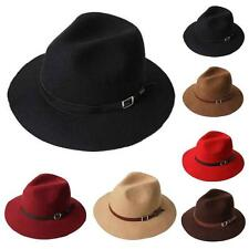 VTG Style Wool Felt FEDORA Hat Leather Band Trilby Black/Brown/Camel/Maroon NEW