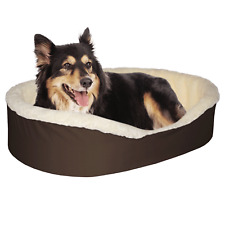Dog Bed King USA Cuddler Nest Pet Bed. Brown/Imitation Lambswool. USA Made.