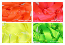 Satin Ribbon Double Sided Berisfords Fluorescent  Shades Choice Widths 3501