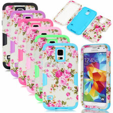 Armor Peony Flower Dual Layer Combo Matte Cover Case For Samsung Galaxy Series
