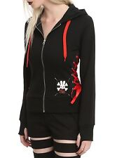 Hell Bunny Ladies Corset Hoodie Red girls gothic punk emo scene