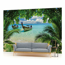 Paradise Beach and Boats  PHOTO WALLPAPER WALL MURAL ROOM DECOR (225VE)
