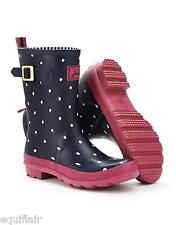 Joules Molly Welly (R) Womens Calf Length Wellington Boots - Navy Spot AW2014