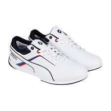 Puma BMW Mens BMW MS Ignite White Blue Leather Synthetic Sneakers Shoes