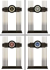 Choose Your US Military Branch 2PC Black Wood Finish & Mirror Billiard Cue Rack