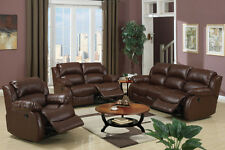 Leather Reclining sofa set Brown sofa furniture couch 3 Pc Living room set F7731