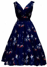 NEW RETRO VINTAGE 1940's 1950's 'MARILYN' NAVY BLUE BIRD PRINT DRESS 8-22  BNWT