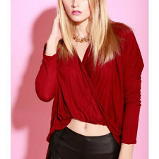 New trends Burgundy twist crossover plunge wrap cocoon top  blouse tunic S M L