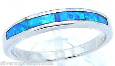 Quality Blue Fire Opal Inlay Solid 925 Sterling Silver Band Ring all Sizes