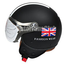 ECE Adult Motorcycle Retro Vintage Open Face Helmet Scooter Cruiser M L XL Black