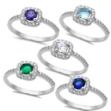 5 Gemstones to choose from! Halo Style .925 Sterling Silver Ring Sizes 5-9
