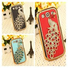 For Samsung Galaxy S3 I9300 Chrome Bling 3D Diamond Peacock Leather Case Cover