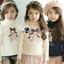 Autumn Winter Baby Toddlers Child Kids Girls Lace Neck Ballet Shoes Shirt 2-7Y