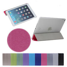 Clear Crystal Ultra Slim Stand Smart Cover PU Leather Case Sleep/Wake For iPad