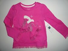 NWT Baby Gap 2T 3T Ice Skates Tulle T-shirt Pink Long Sleeve Top