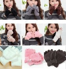 Fleece Half-Finger Fingerless Convertible Gloves Women Fall Hand Wrist Mittens