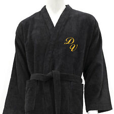 MEN PERSONALIZED MONOGRAM 100% COTTON BATHROBE KIMONO BLACK - SIZES M,L,XL,XXL