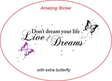 """Don't Dream Your Life"" Schmetterling Punktiert Wandsticker Wandtattoos Zitate"