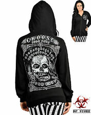 TOO FAST CHOOSE FATE SKULL TATTOO GOTHIC PUNK PENTAGRAM HOODIE JACKET GOTH SHIRT