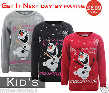 Do You Want To Build A Snowman Olaf New Unisex Kids Christmas Xmas Jumpers Tops