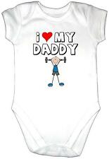 I LOVE MY DADDY Baby Grow Bodysuit Clothes Vest Gro Shirt Fun Training Dad