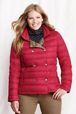LANDS' END Plus Size 3X Rich Red Lightweight Down Pea Coat *NWT* $149