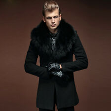 2014 Mens Luxury Wool Blend Fur Collar Long Trench Military Winter Autumn Coats