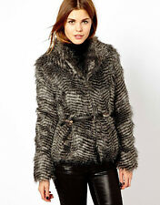 ♥New AWEAR @ ASOS Belted Faux Racoon Fur Jacket Coat Size 8 10 12 14 16 RRP £80♥