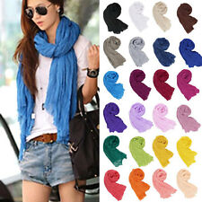 Hot Women Long Crinkle Voile Soft Scarf Wrap Shawl Stole Pure Candy Colors Warm