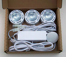 Dimmable Undercabinet 12V Puck Light (set of 3 lights) Wht, Blk, Nickel Finish