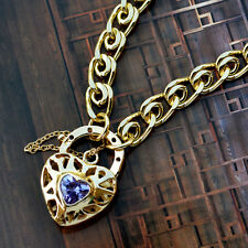 """9K Yellow Gold Filled Bracelet With Sparkly Stone Heart Locket """"Stamp 9K"""""""