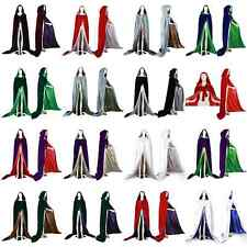 Hot Stock Velvet Hooded Cloak Coat Cape Shawl Halloween Wedding 12-Colors