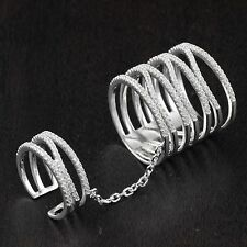 Womens 925 Sterling Silver CZ Micro Pave Attached Double Knuckle X Ring