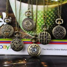 Retro Unsex Bronze Quartz Necklace Chain Pendant Pocket Watch Gift NEvantech2014