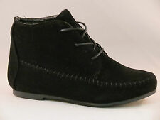 New Women's  Black Cute Comfort Ankle Lace Up Flat Casual Booty Oxford Shoe