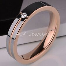 Rose Gold PL Tungsten Carbide Groove Polished CZ Stone Unisex Wedding Band Ring