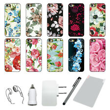 For APPLE IPHONE 5 5S Rugged Plastic Hard Plastic Defender Flower Case +6 Gifts