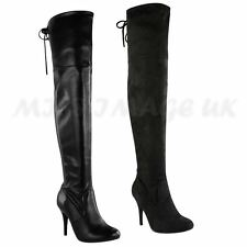 LADIES WOMENS OVER THE KNEE THIGH HIGH STRETCH STILETTO HEEL BOOTS SHOES SIZE