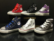 Infants Girls Converse All Star Customised Crystal Diamante Size Infant 2-10