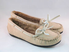 WOMEN FAUX SUEDE BEGIE MOCCASIN SLIP ON SOFT FUR LINED FLATS ,FREE SHIPPING