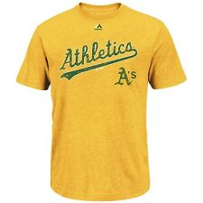 "Oakland Athletics MAJESTIC ""Season Kickoff"" Gold Graphic Logo T Shirt Men's"