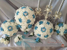 Wedding Flowers Bouquet Turquoise Ivory Roses Heart Brooch Crystal Sprays Bridal