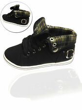 Kids Roll Up Black Flat Hi Top Plimsolls Pumps Lace Up Casual Canvas Trainers