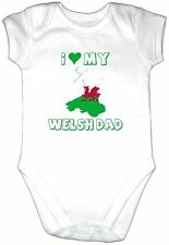 I LOVE MY WELSH DAD Baby Grow Gro Vest Flag Map Bodysuit WALES Daddy Heart