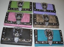 Women's TRIFOLD Wallet with Checkbook Cover WESTERN STYLE Crystal Studded Buckle